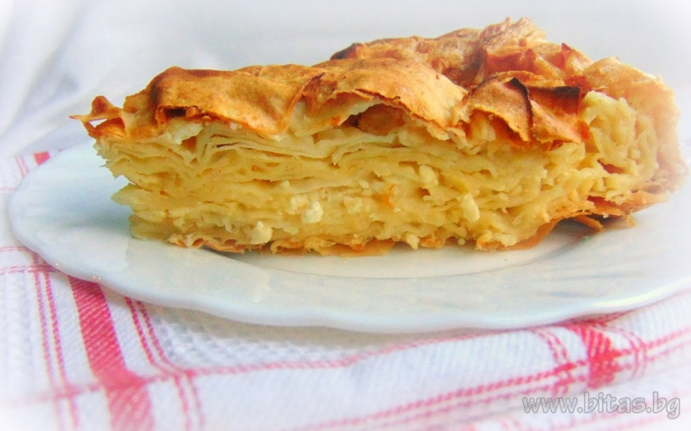 Layered banitsa with feta cheese